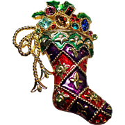Vintage Christopher Radko Rhinestone Christmas Stocking Brooch