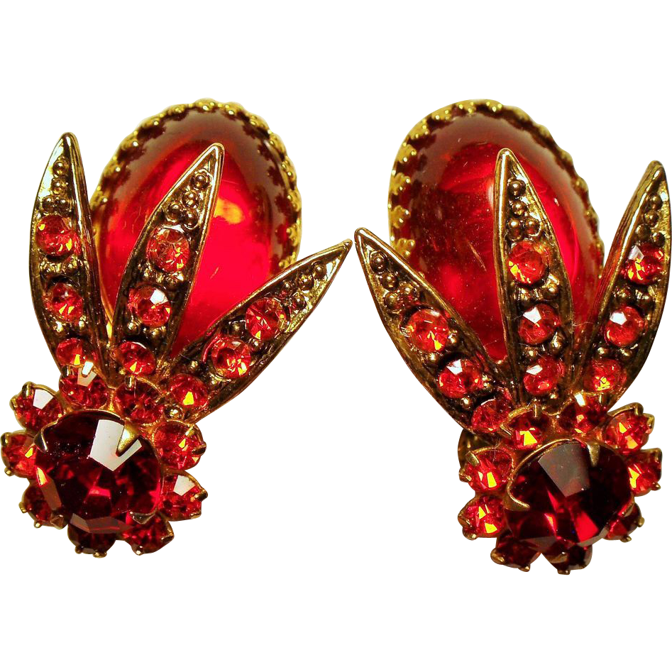 Vintage Red Glass Cabochon Rhinestone Bug Insect Earrings