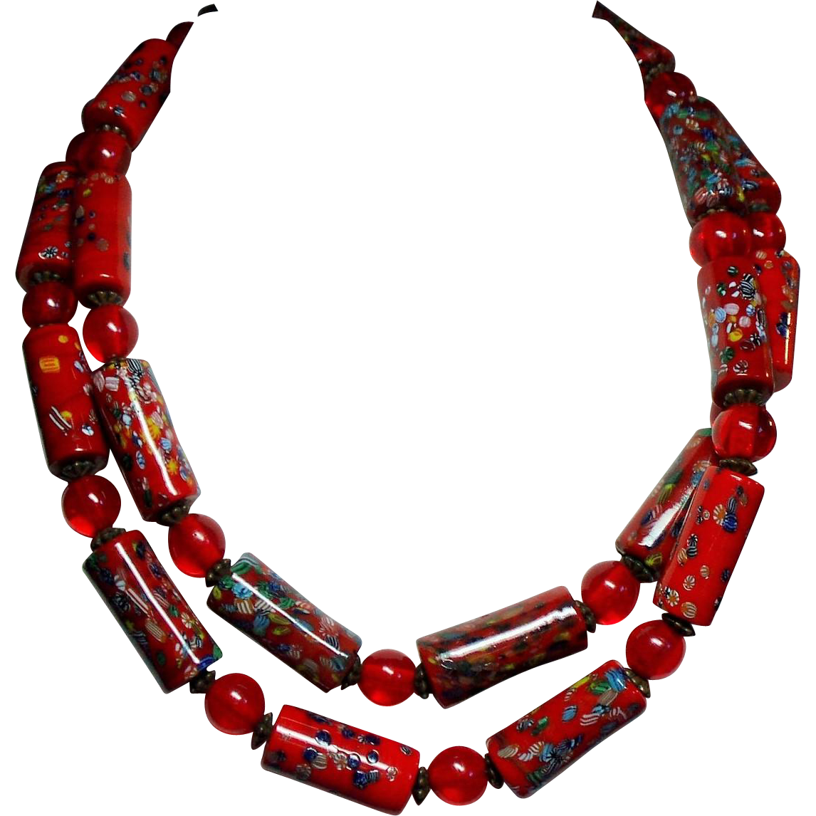 Vintage Italian Venetian Red Millefiori Glass Tube Bead Long Opera Length Necklace