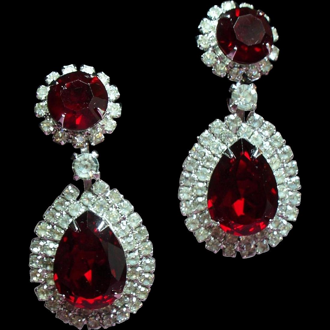 Vintage Huge Red Pear Rhinestone Drop Earrings