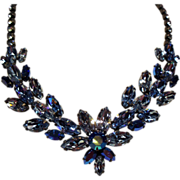 Vintage Regency Shades of Icy Blue Navette Rhinestone Necklace