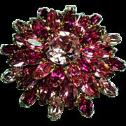 Vintage Regency Shades of Pink Navette Rhinestone Dimensional Brooch