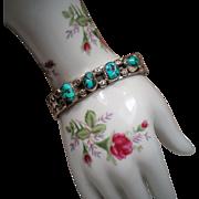 Vintage Roger Skeet Jr. Navajo Turquoise Sterling Cuff Bracelet