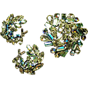 Vintage Regency Lime & Canary Yellow Rhinestone Brooch Earrings Demi Parure