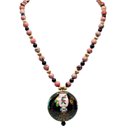 Vintage Chinese Export Rhodonite Bead Large Cloisonne Ball Pendant Necklace