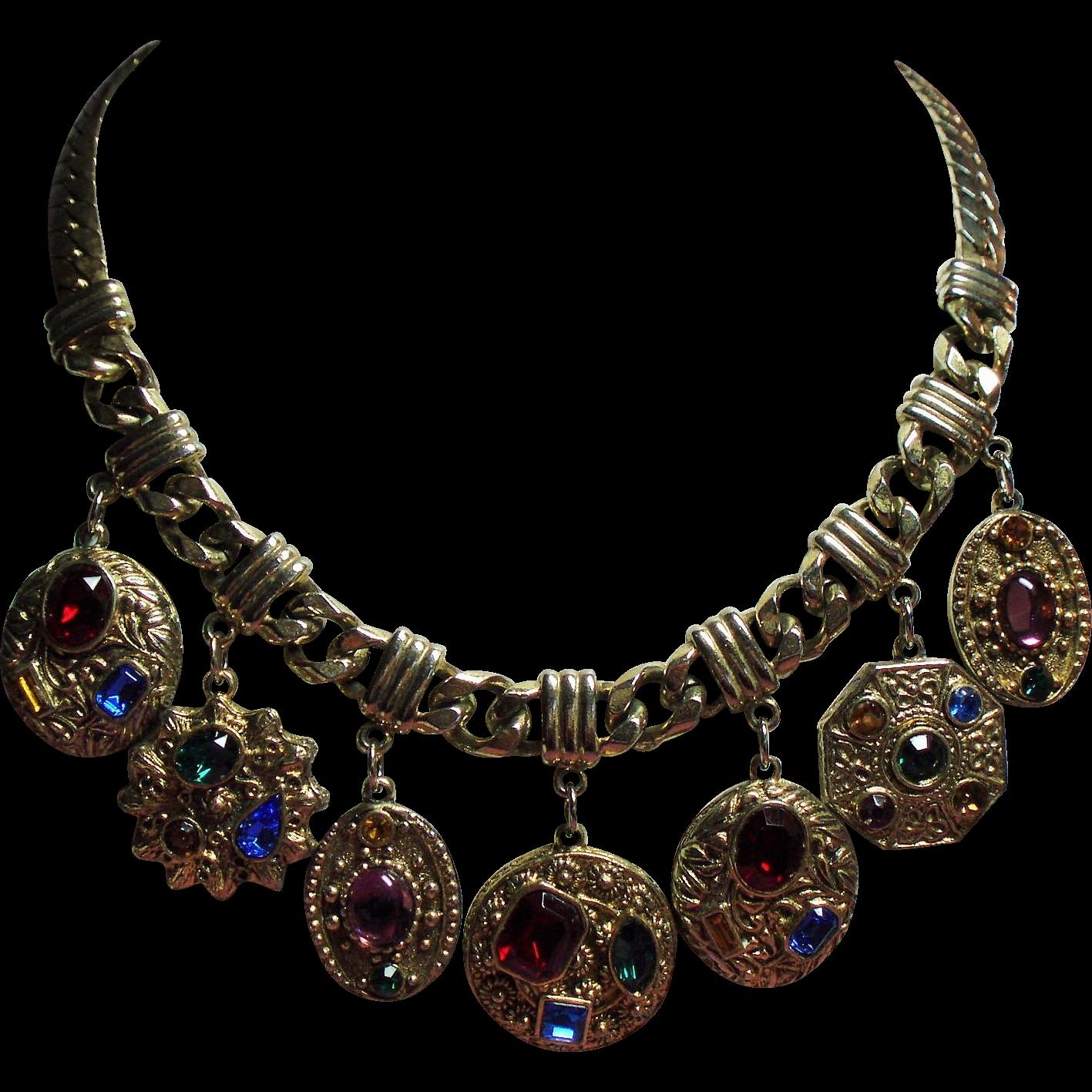 Vintage Jewel Tone Rhinestone Hefty Medallion Necklace