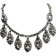 Vintage Large Navette Colorless Rhinestone Droplets Choker Necklace