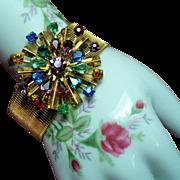 Vintage Multiple Color Rhinestone Starburst Medallion Sleek Bracelet