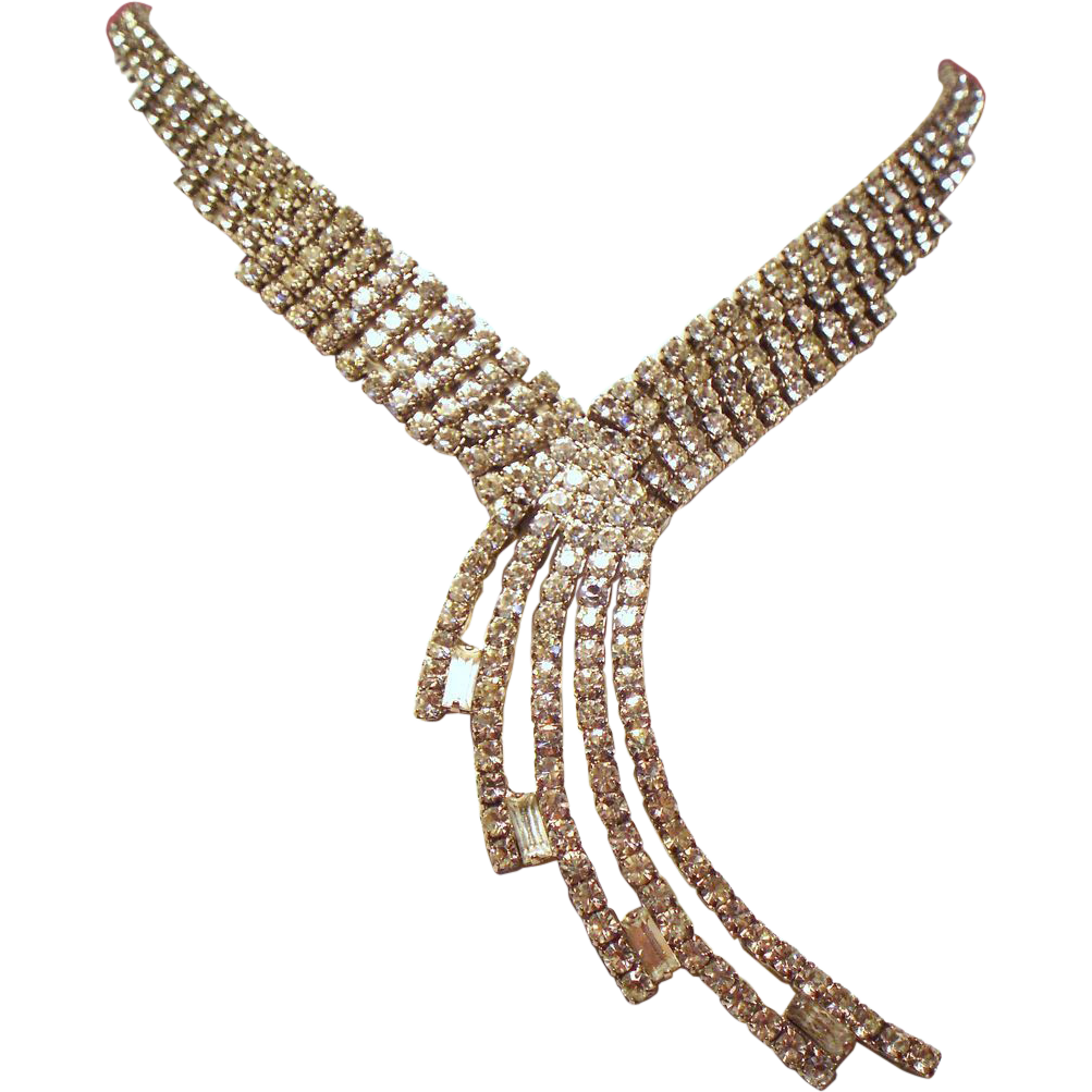 Vintage Art Deco Rhinestone Waterfall Necklace