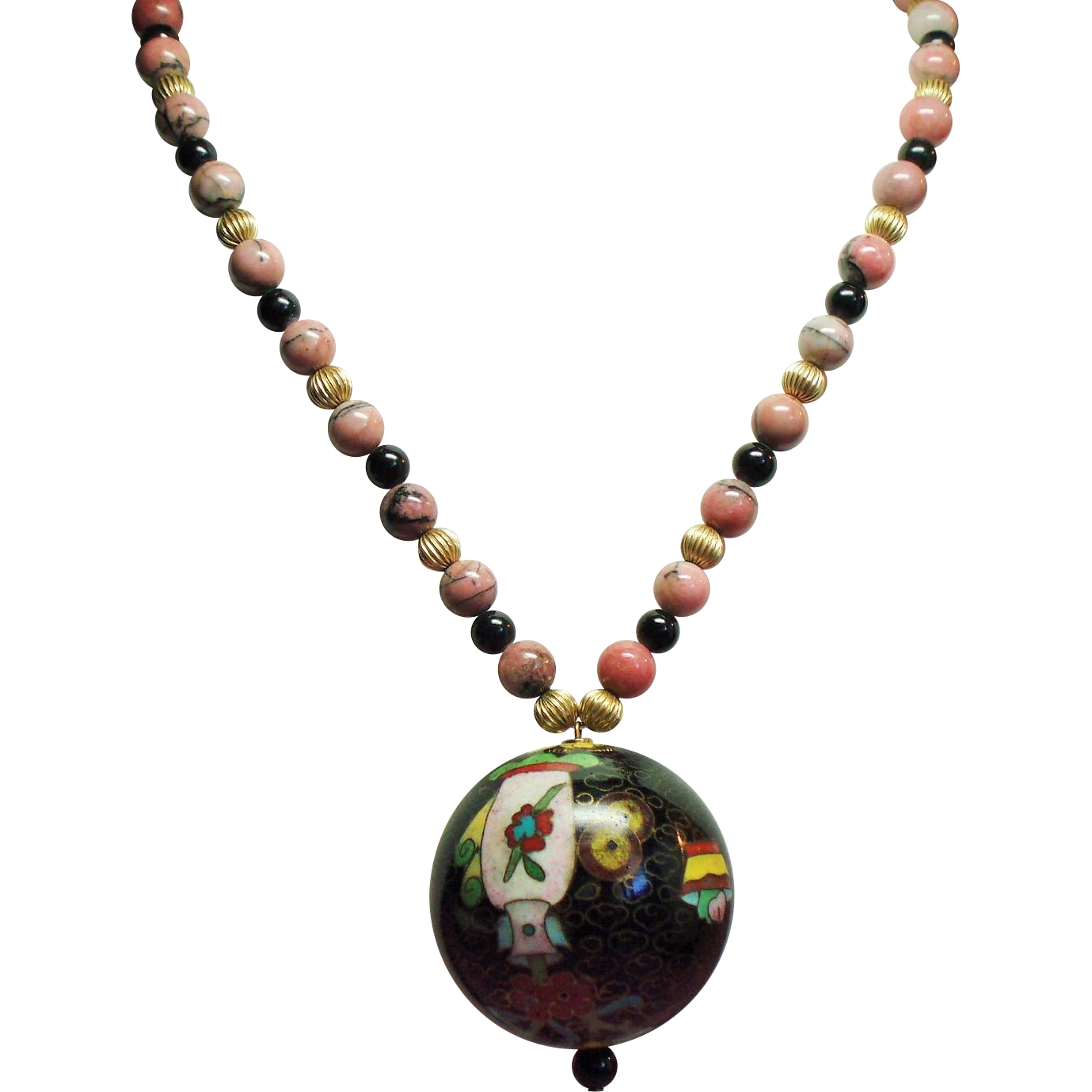 Vintage Chinese Rhodonite Bead Large Cloisonne Ball Pendant Necklace