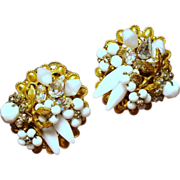 Vintage Robert Milk Glass Stones Beads & Crystals Cluster Earrings