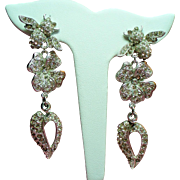 Vintage Roxanne Assoulin Rhinestone Bee Flower Heart Extra Long Drop Earrings