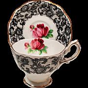 Vintage Royal Albert England Senorita Red Roses Black Lace Teacup & Saucer