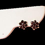 Antique Rose Cut Garnet Cluster 14K Petite Pierced Earrings