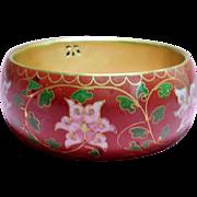 Vintage Russet Colored Cloisonne Flower Bangle Bracelet