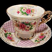 Vintage Royal Halsey Roses Pink Lattice Teacup and Saucer