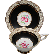 Vintage Royal Stafford England Pink Roses Black Gold Teacup & Saucer