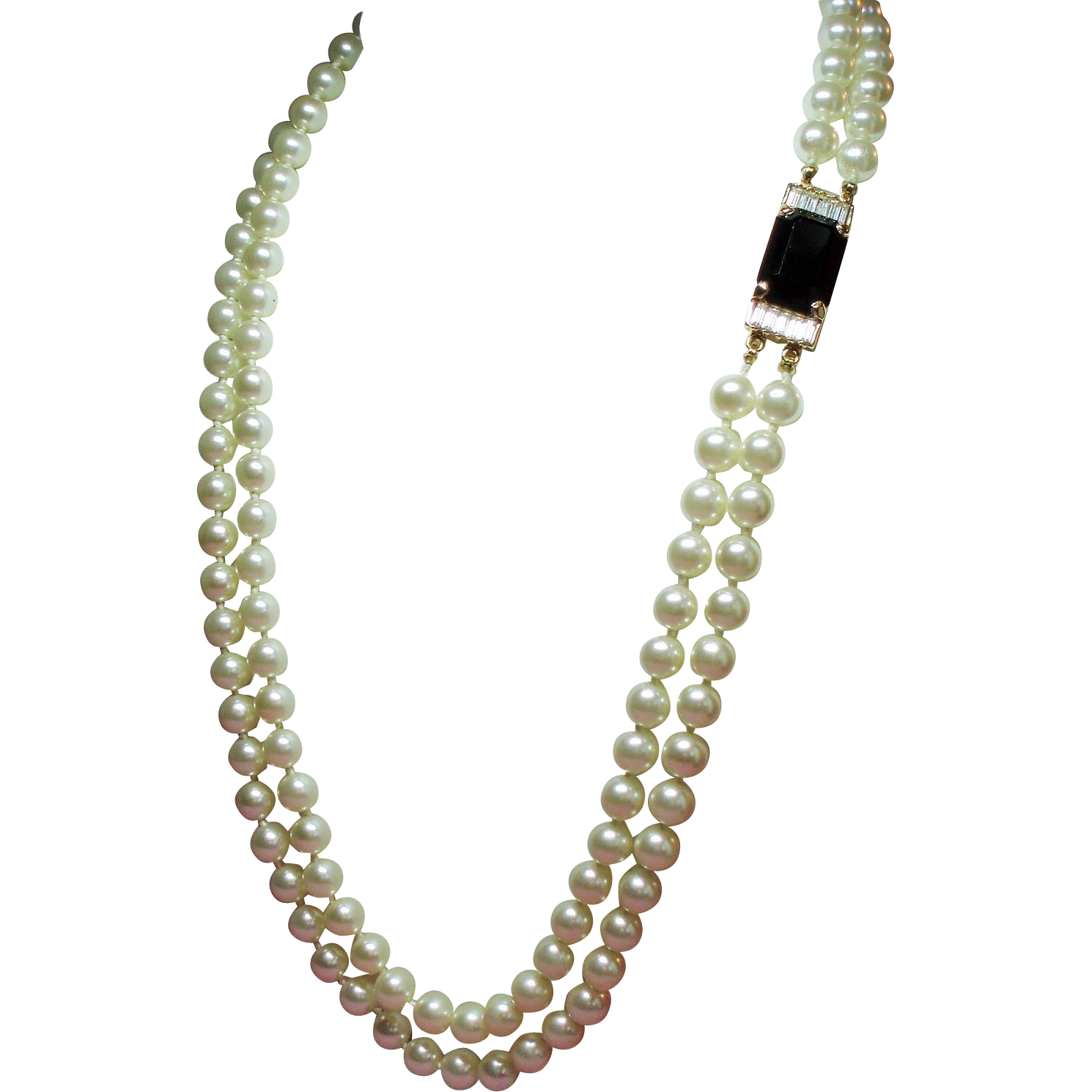 Vintage S.A.L. Swarovski Faux Pearl Double Strand Matinee Length Necklace Fabulous Clasp