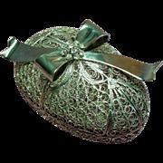 Vintage Silver Plate Filigree Egg Trinket Box Rhinestone Bow