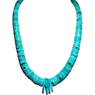 Vintage Incredible Native American Santo Domingo Turquoise Necklace