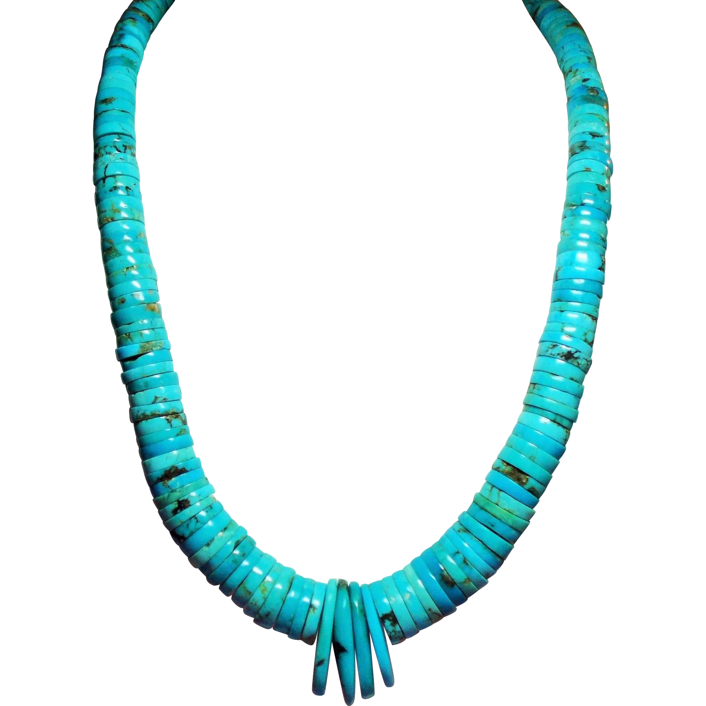 Vintage Incredible Native American Santo Domingo Style Turquoise Necklace
