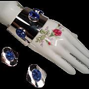 Vintage Sarah Coventry Mod Lava Rock Stones Wide Cuff Bracelet Earrings Demi Parure