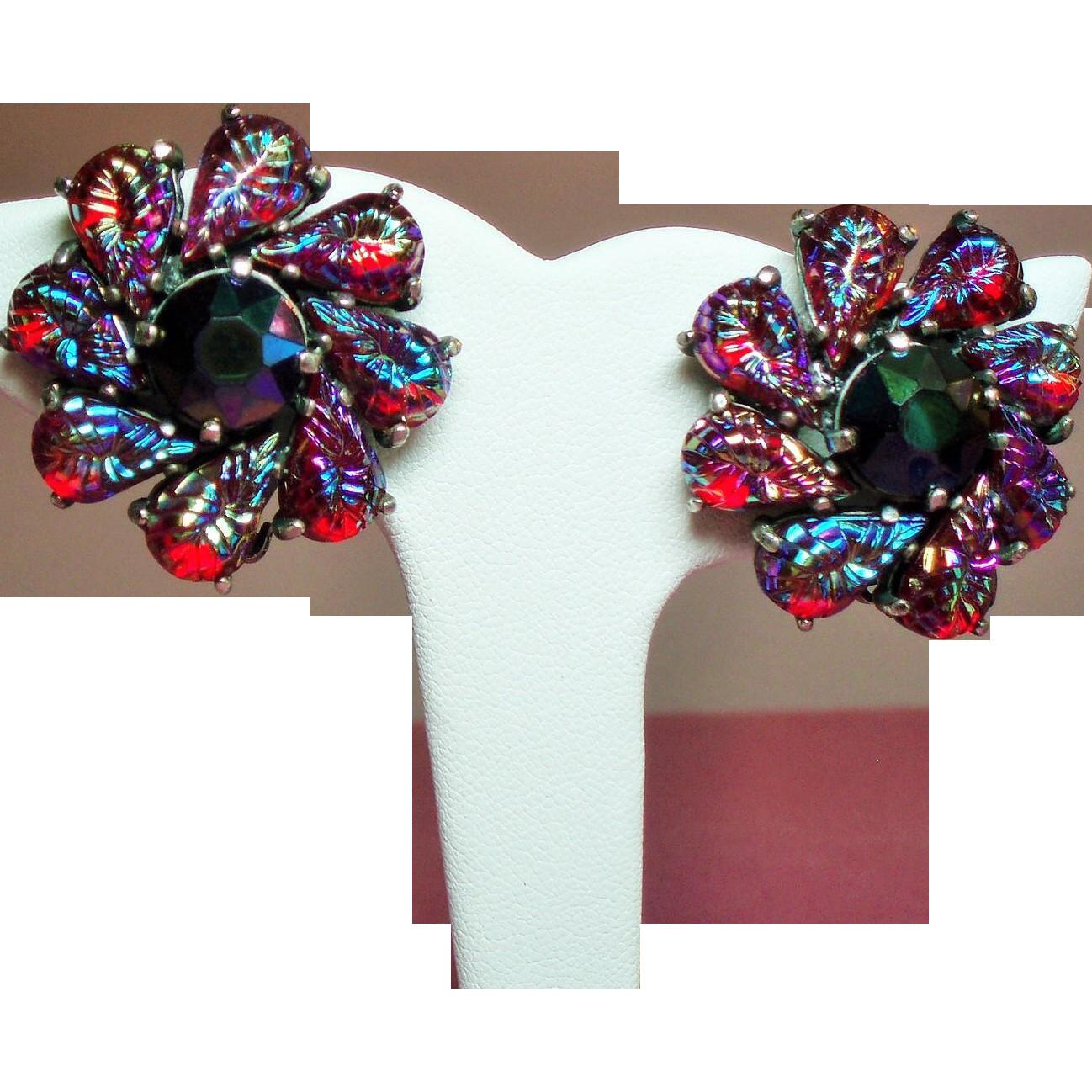 Vintage Schiaparelli Red Iridescent Molded Art Glass Stone Earrings