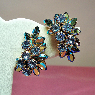 Vintage Schoffel Austria Heavenly Blue Rhinestone Climbing Earrings