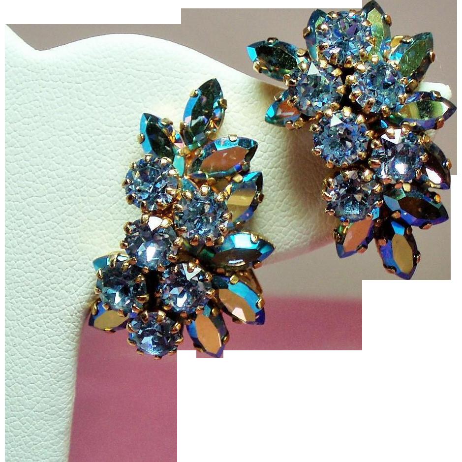 Vintage Schoffel Austria Heavenly Blue Rhinestone Climbing Earrings