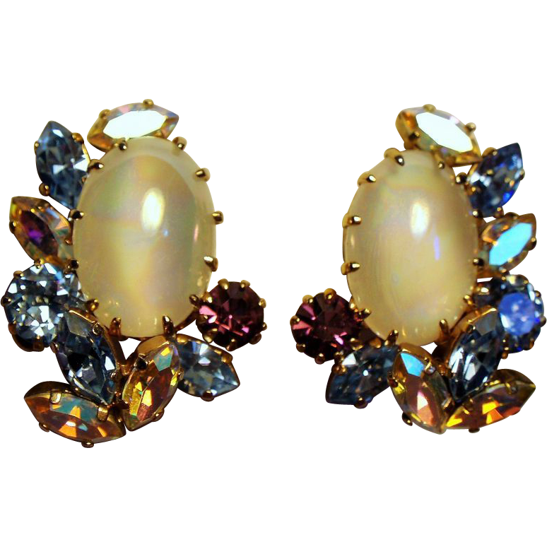 Vintage Schoffel Austria Faux Moonstone Rhinestone Earrings