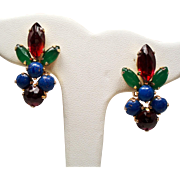 Vintage Schreiner Faux Cabochon Gemstone Earrings