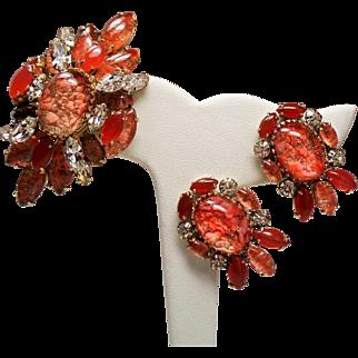 Vintage Schreiner Orange Art Glass Cabochon Brooch Earrings Demi Parure
