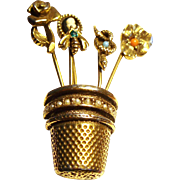 Vintage Schrager Stick Pins in a Thimble Flower Pot Brooch