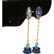 Vintage Lewis Segal Margarita Rhinestone Long Drop Pendant Earrings