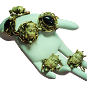 Vintage Selro Selini Asian Princess Faces Bracelet Earrings Demi Parure