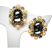 Vintage Sherman Smoky Glass Cabochon Faux Pearl Rhinestone Earrings