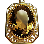 Vintage Huge 25 Carat Faceted Oval Golden Smoky Quartz 14K Pendant