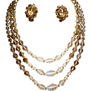 Vintage Smoky Topaz Colored Crystal Bead Triple Strand Necklace Earrings Demi Parure