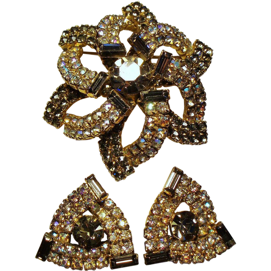 Vintage Smoky Aurora Borealis Rhinestone Dome Brooch Earrings set