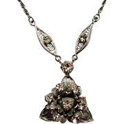 Vintage Sterling Rhinestone Flower Cluster Pendant Necklace