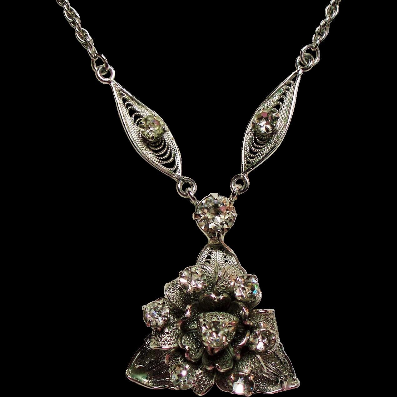 Vintage Sterling Rhinestone Flower Cluster Pendant Necklace