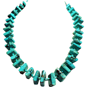 Vintage Native American Square Turquoise Nugget Long Necklace
