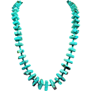 Vintage Large Square Turquoise Chunk Longer Length Necklace