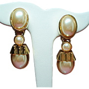 Vintage St. John Faux Mabe Pearl Large Drop Earrings
