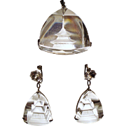 Vintage Japanese Carved Rock Crystal Pagoda Pendant Drop Earrings Sterling Demi Parure