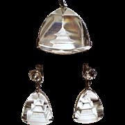 Vintage Japanese Carved Rock Crystal Pagoda Pendant Drop Earrings Sterling Demi Parure