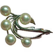 Vintage Cultured Pearl Petite Spray Sterling Brooch