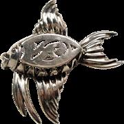 Vintage Mid Century Sterling Dimensional Fish Brooch