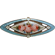 Vintage Edwardian Sterling Guilloche Roses Collar Pin