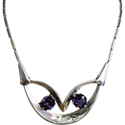 Vintage Taxco Mexico Sterling Faceted Amethyst Glass Stone Mid Century Necklace